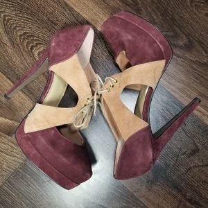 Levity Heels Burgundy and Tan Suede with Ties